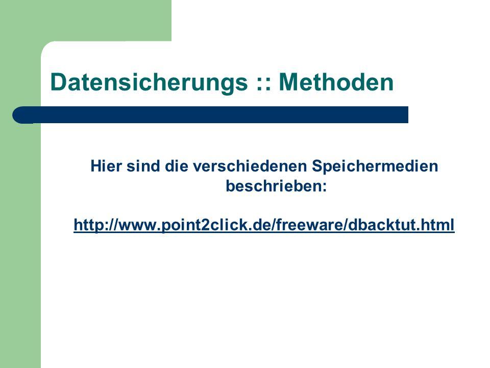 Datensicherungs :: Methoden Hier sind die verschiedenen Speichermedien beschrieben: http://www.point2click.de/freeware/dbacktut.html