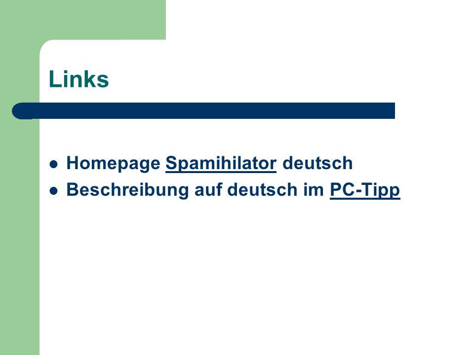 Links Homepage Spamihilator deutschSpamihilator Beschreibung auf deutsch im PC-TippPC-Tipp