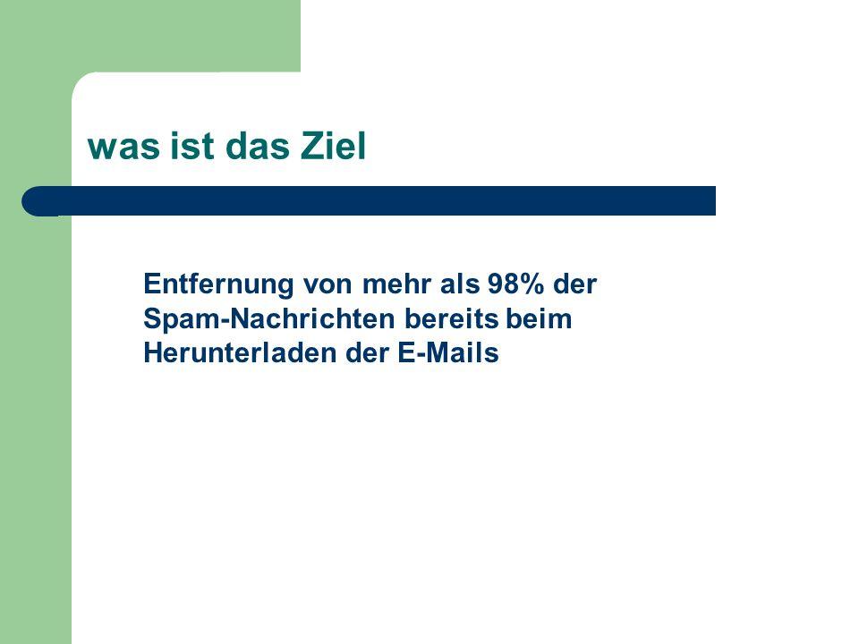 was ist das Ziel Entfernung von mehr als 98% der Spam-Nachrichten bereits beim Herunterladen der E-Mails