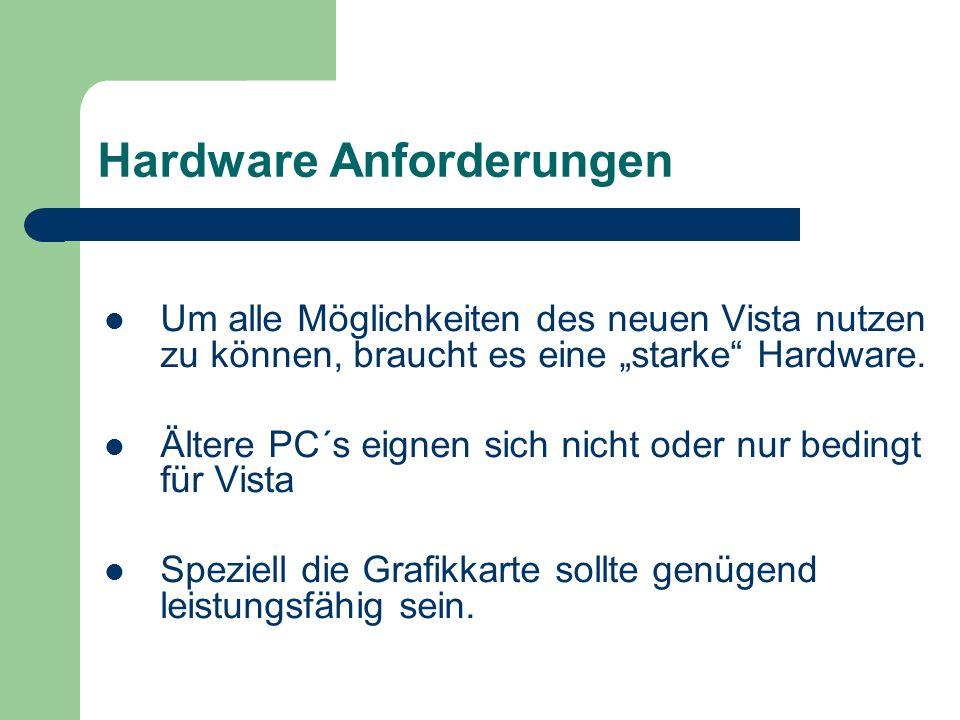 Hardware Anforderungen Um alle Möglichkeiten des neuen Vista nutzen zu können, braucht es eine starke Hardware.