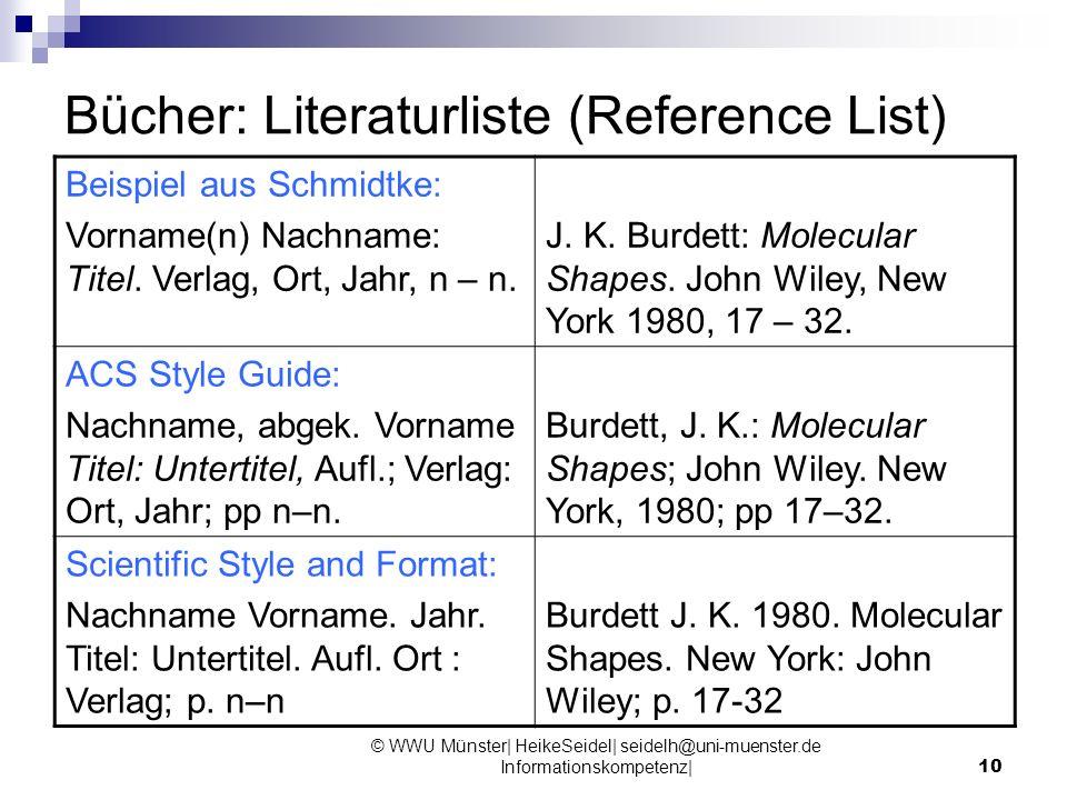 10 Bücher: Literaturliste (Reference List) Beispiel aus Schmidtke: Vorname(n) Nachname: Titel. Verlag, Ort, Jahr, n – n. J. K. Burdett: Molecular Shap