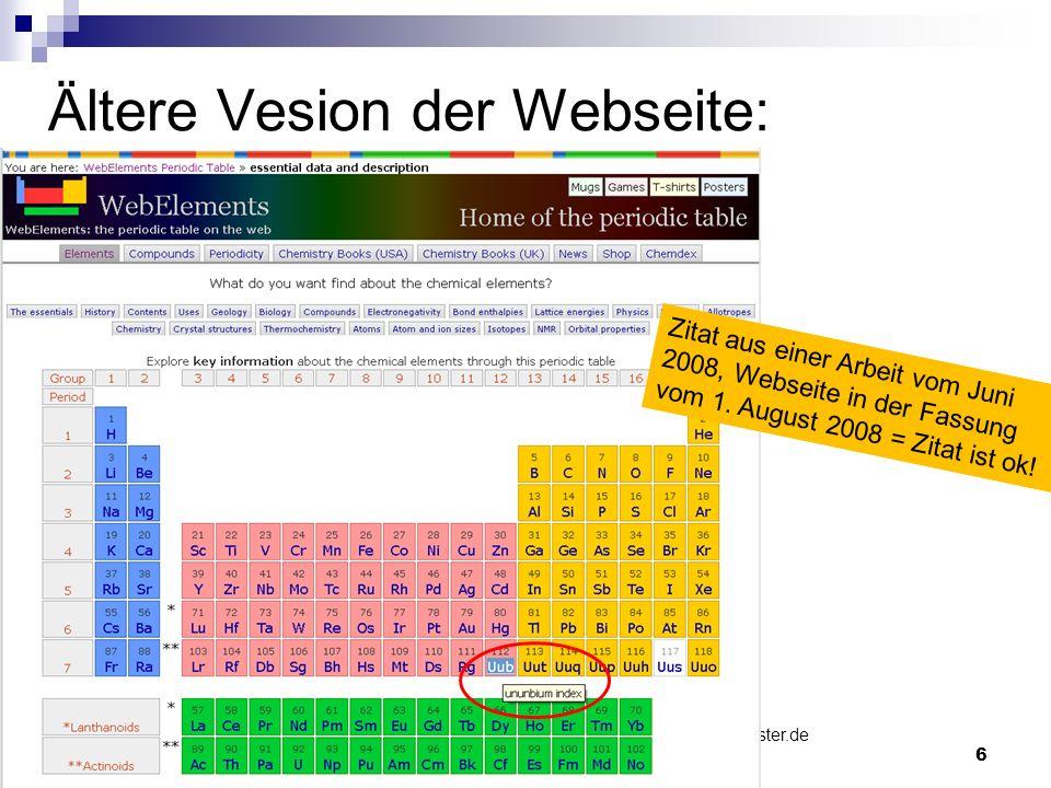 © WWU Münster| HeikeSeidel| seidelh@uni-muenster.de Informationskompetenz| 6 Ältere Vesion der Webseite: Zitat aus einer Arbeit vom Juni 2008, Webseit