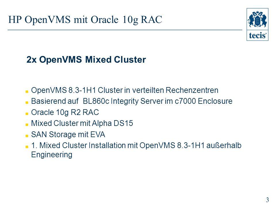 3 HP OpenVMS mit Oracle 10g RAC 2x OpenVMS Mixed Cluster OpenVMS 8.3-1H1 Cluster in verteilten Rechenzentren Basierend auf BL860c Integrity Server im c7000 Enclosure Oracle 10g R2 RAC Mixed Cluster mit Alpha DS15 SAN Storage mit EVA 1.
