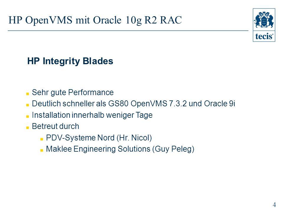4 HP OpenVMS mit Oracle 10g R2 RAC HP Integrity Blades Sehr gute Performance Deutlich schneller als GS80 OpenVMS 7.3.2 und Oracle 9i Installation innerhalb weniger Tage Betreut durch PDV-Systeme Nord (Hr.
