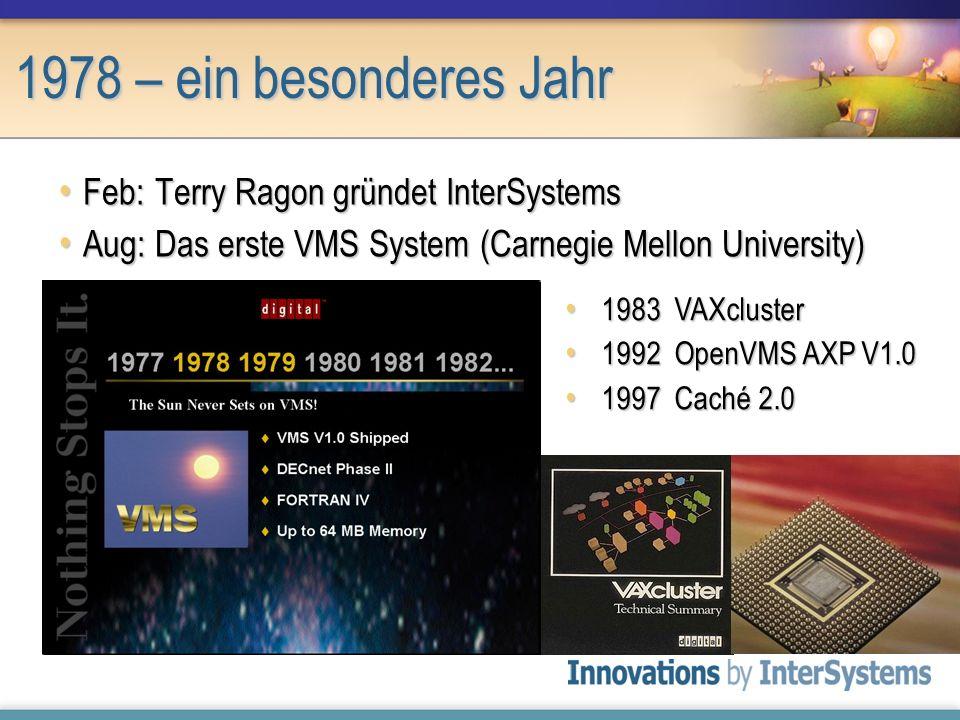 1978 – ein besonderes Jahr Feb:Terry Ragon gründet InterSystems Feb:Terry Ragon gründet InterSystems Aug:Das erste VMS System (Carnegie Mellon Univers