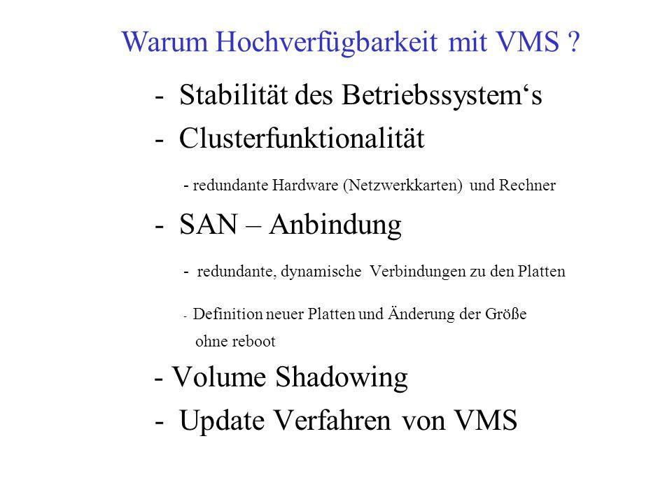 - Stabilität des Betriebssystems - Clusterfunktionalität - redundante Hardware (Netzwerkkarten) und Rechner - SAN – Anbindung - redundante, dynamische