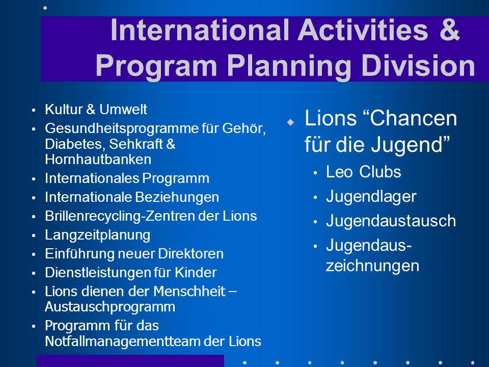 u Lions Chancen für die Jugend Leo Clubs Jugendlager Jugendaustausch Jugendaus- zeichnungen Kultur & Umwelt Gesundheitsprogramme für Gehör, Diabetes,