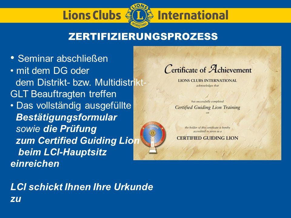 LIONS CLUBS INTERNATIONALCertified Guiding Lion (CGL08.GE) Erstellung eines aus Clubamtsträgern bestehenden Mentor-Teams (10 Minuten) Hilfsmittel: Checklisten für aus Clubamtsträgern bestehende Mentor-Teams Stellen Sie die Clubamtsträger ihren Mentoren vor.