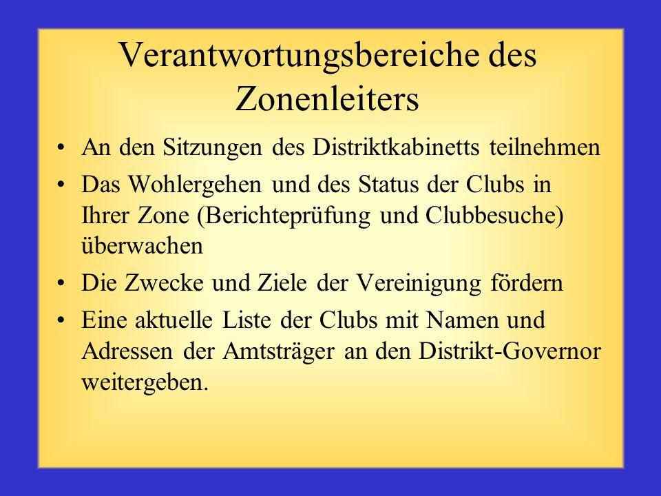 Drei Hauptfunktionen des Zonenleiters Motivator – Anerkennung besonderer Clubleistungen Berater – Handlungs- und Orientierungshilfe Kommunikator – Inf