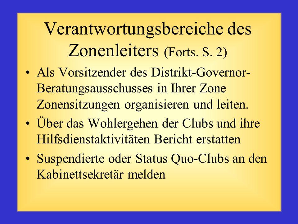 Verantwortungsbereiche des Zonenleiters An den Sitzungen des Distriktkabinetts teilnehmen Das Wohlergehen und des Status der Clubs in Ihrer Zone (Beri
