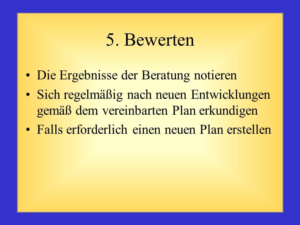 4. Gemeinsam einen Plan formulieren Die Problemursache bzw. das Erfolgsrezept ermitteln Gemeinsam eine Lösung besprechen Gemeinsam einen Aktionsplan z