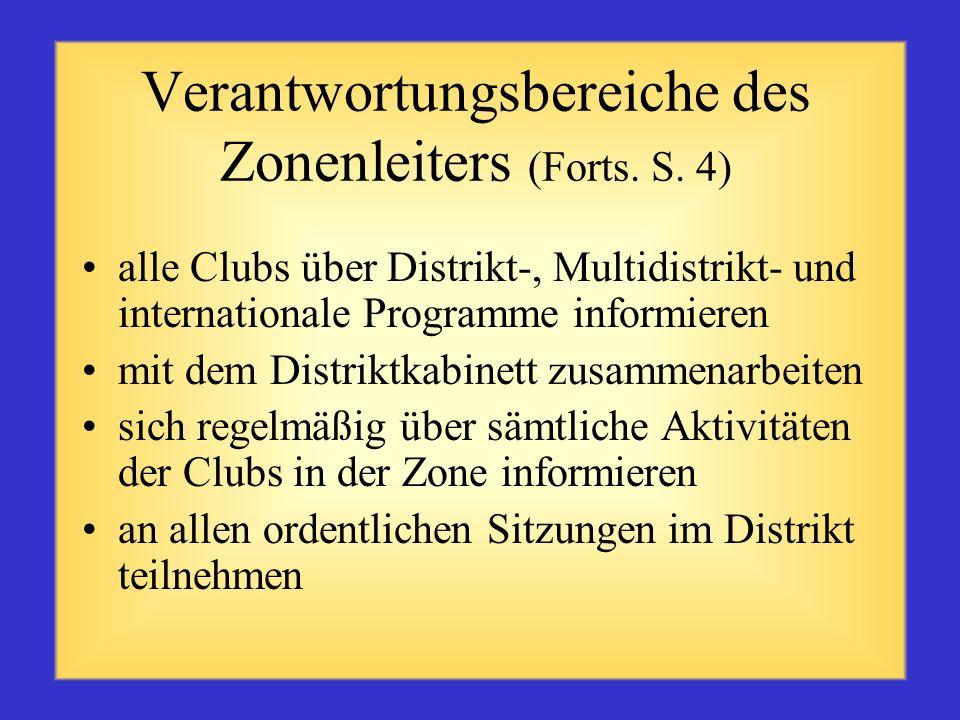 Verantwortungsbereiche des Zonenleiters (Forts. S. 3) Methoden zur Unterstützung aller Clubs innerhalb der Zone anregen und umsetzen. Zum Ideenaustaus