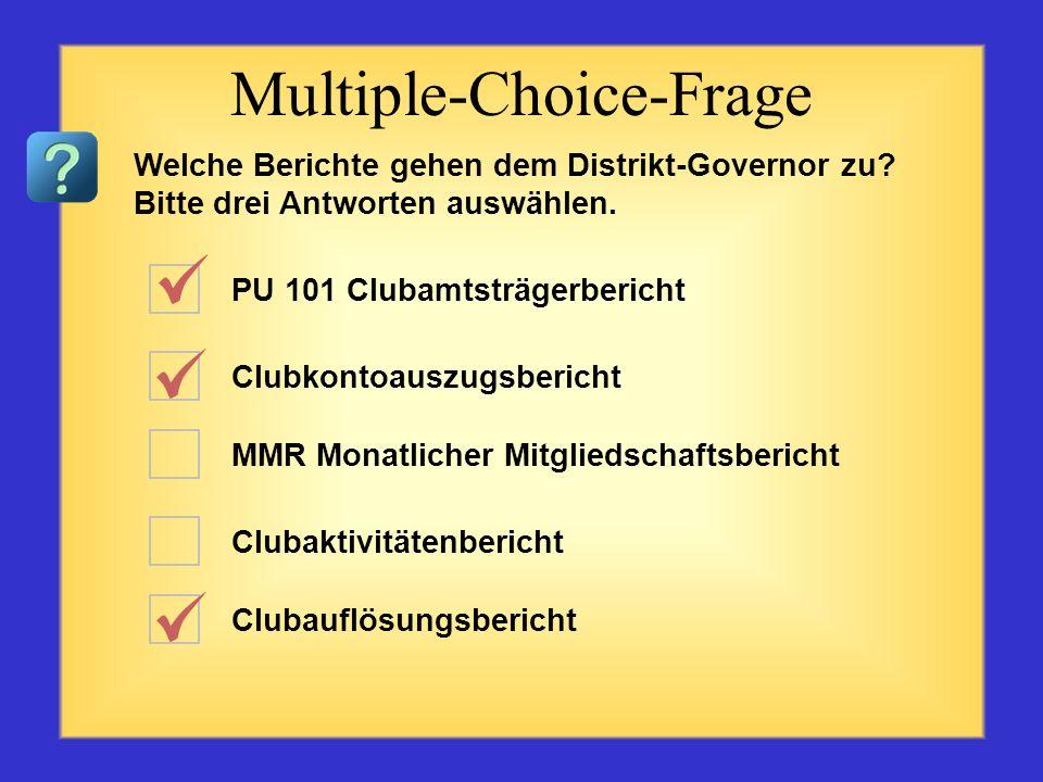 PU 101 Clubamtsträgerbericht Clubkontoauszugsbericht MMR Monatlicher Mitgliedschaftsbericht Das Club-Excellence-Verfahren Clubauflösungsbericht Multip