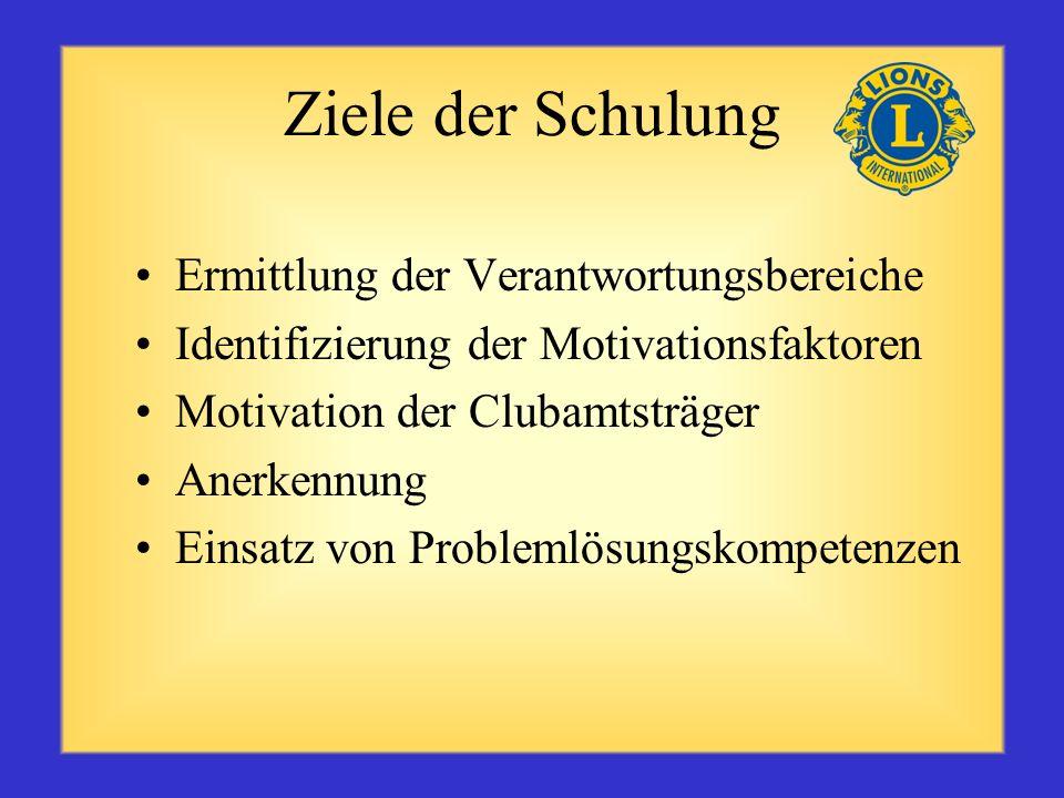 Ziele der Schulung Ermittlung der Verantwortungsbereiche Identifizierung der Motivationsfaktoren Motivation der Clubamtsträger Anerkennung Einsatz von Problemlösungskompetenzen