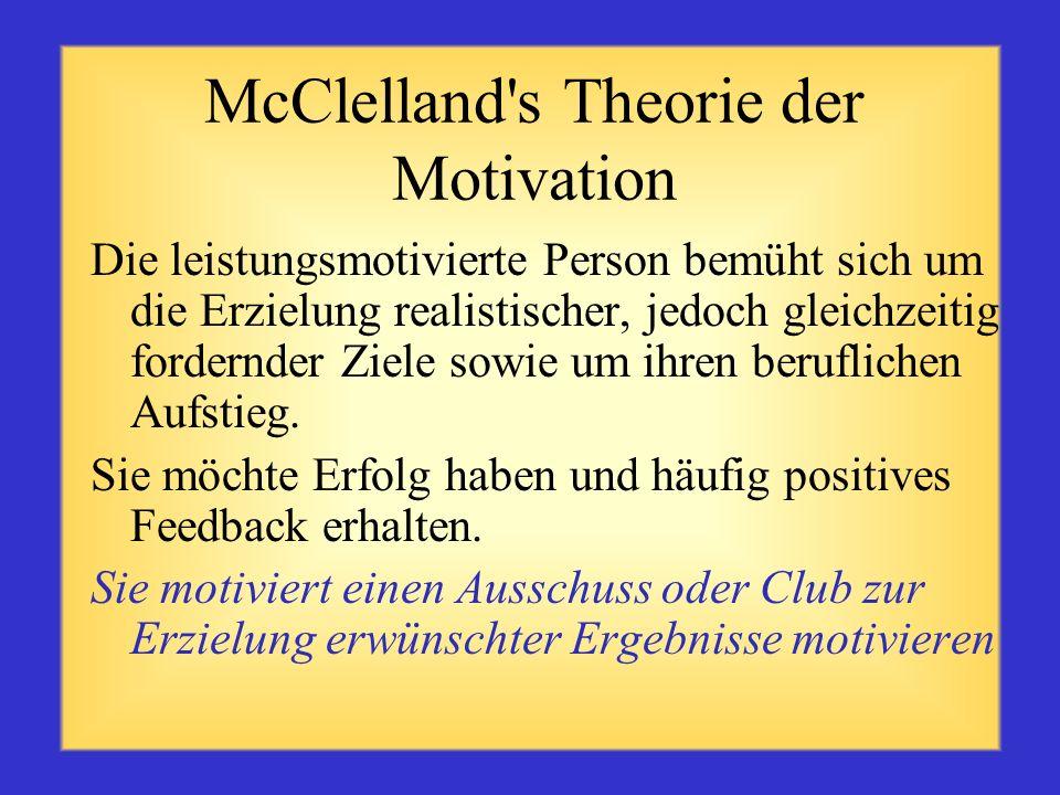 McClelland's Theorie der Motivation Die zugehörigkeitsmotivierte Person sucht harmonische zwischenmenschliche Beziehungen mit anderen (teamorientiert)