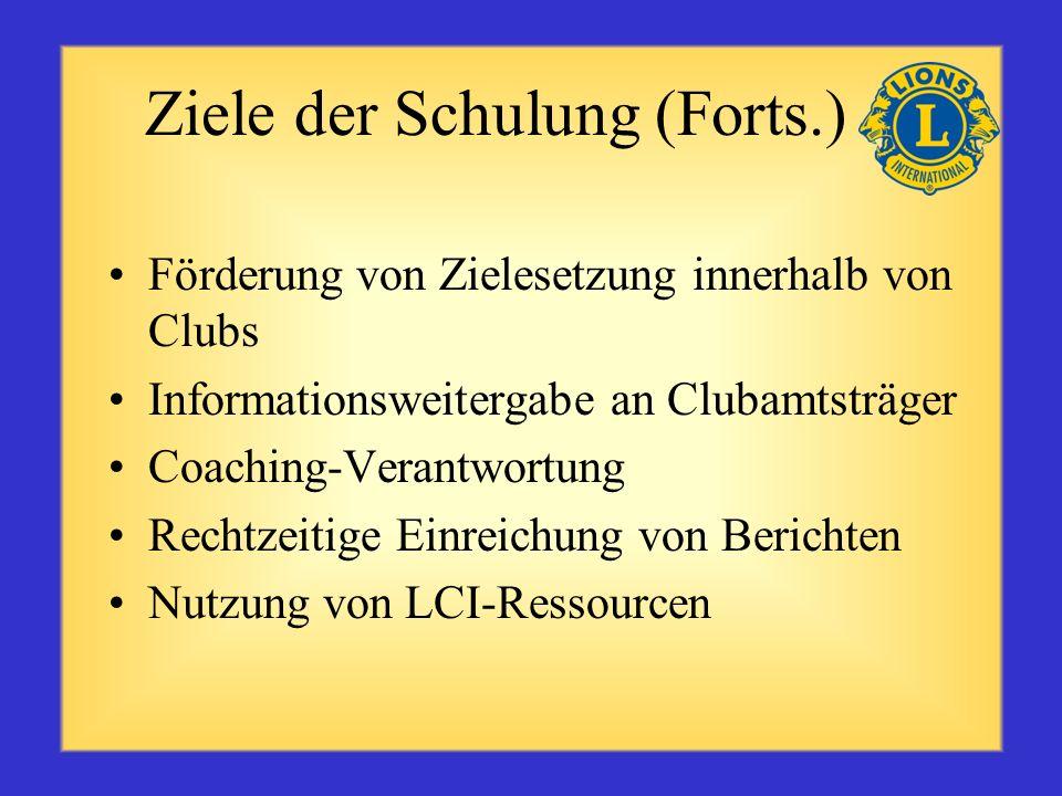 Ziele der Schulung (Forts.) Förderung von Zielesetzung innerhalb von Clubs Informationsweitergabe an Clubamtsträger Coaching-Verantwortung Rechtzeitige Einreichung von Berichten Nutzung von LCI-Ressourcen