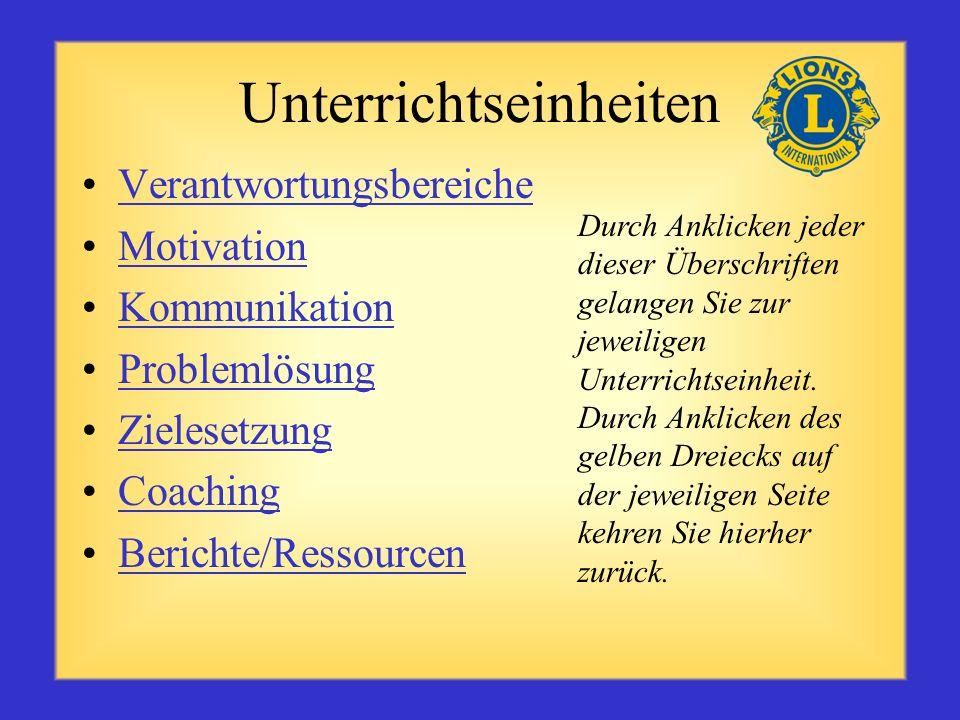 Unterrichtseinheiten Verantwortungsbereiche Motivation Kommunikation Problemlösung Zielesetzung Coaching Berichte/Ressourcen Durch Anklicken jeder dieser Überschriften gelangen Sie zur jeweiligen Unterrichtseinheit.
