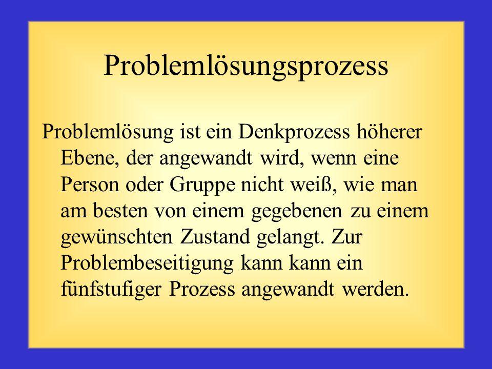 Definition Ein Problem ist ein Hindernis, das die Verwirklichung einer gewünschten Zielvorgabe erschwert. Dabei handelt es sich möglicherweise um eine