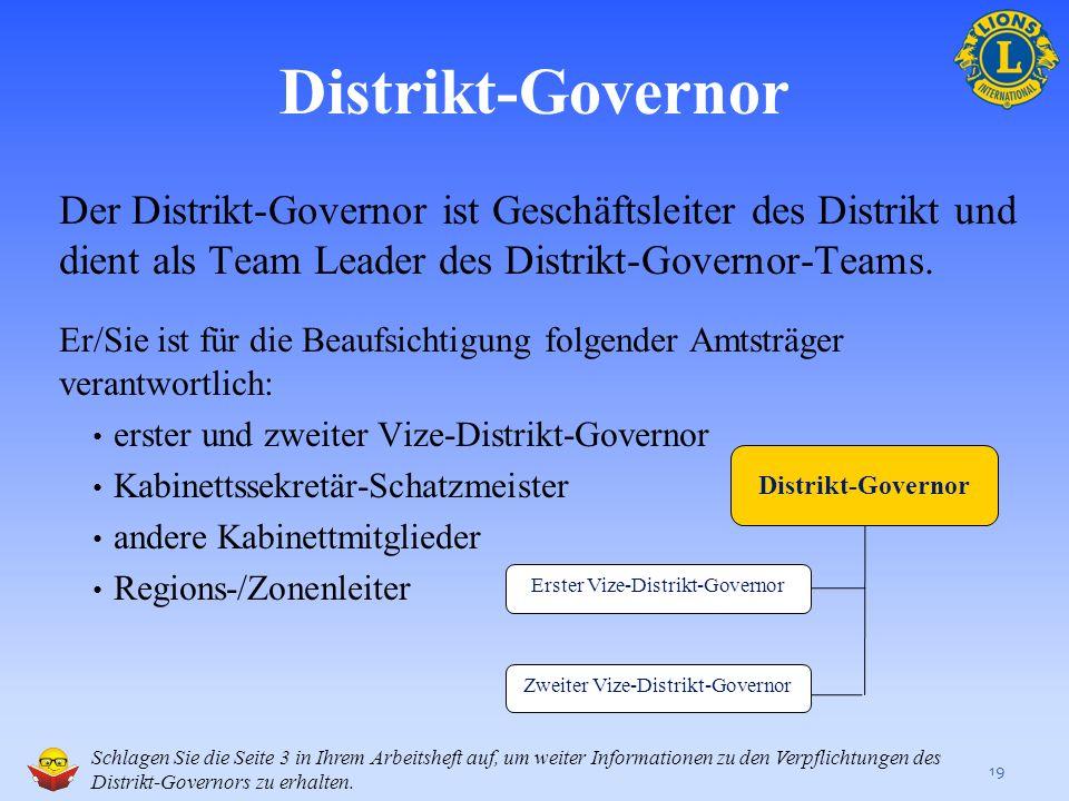 Die Verpflichtungen des Distrikt-Governor-Teams 18 Dieser Abschnitt enthält: Einen Überblick der Verpflichtungen des Distrikt-Governors und des ersten