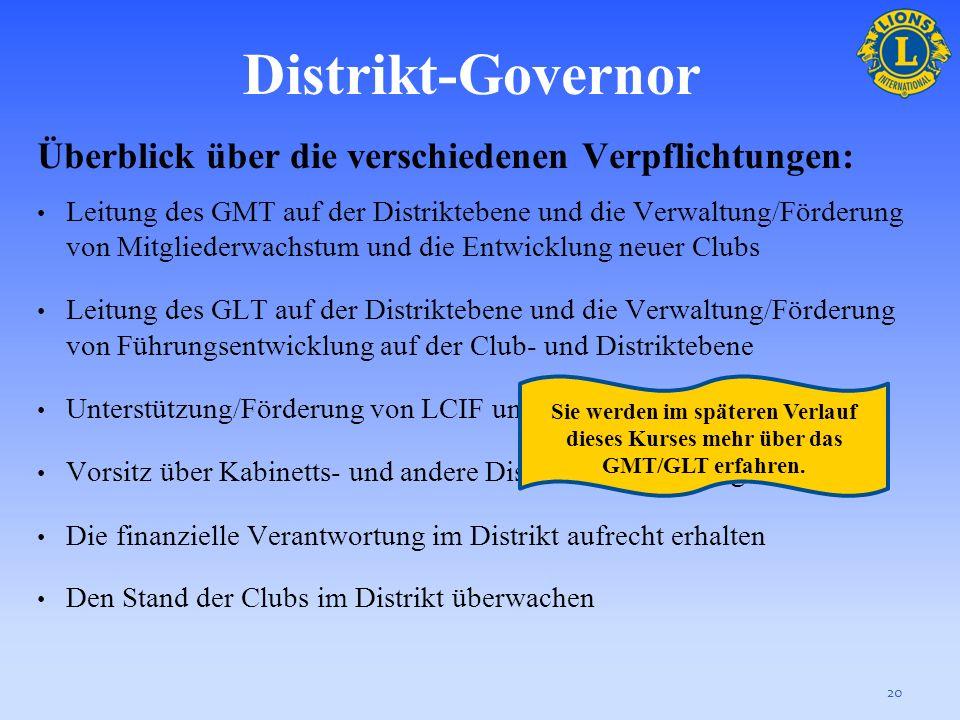 Distrikt-Governor Der Distrikt-Governor ist Geschäftsleiter des Distrikt und dient als Team Leader des Distrikt-Governor-Teams. Er/Sie ist für die Bea