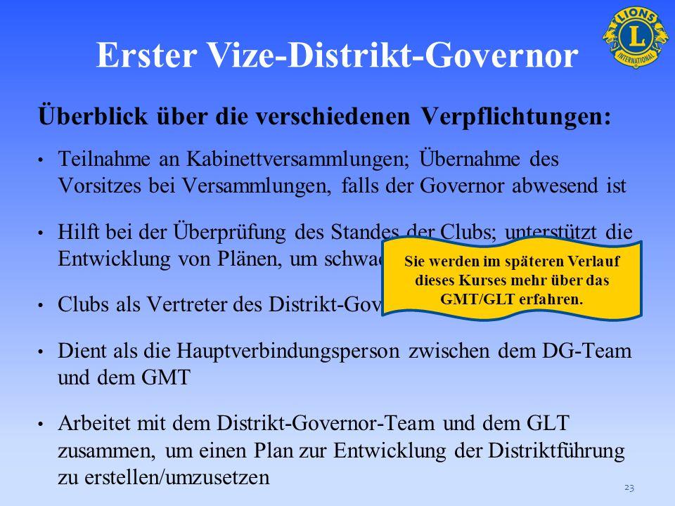Erster Vize-Distrikt-Governor Der erste Vize-Distrikt-Governor ist der leitende Stellvertreter des Distrikt-Governors, er nimmt direkt an der Verwaltu