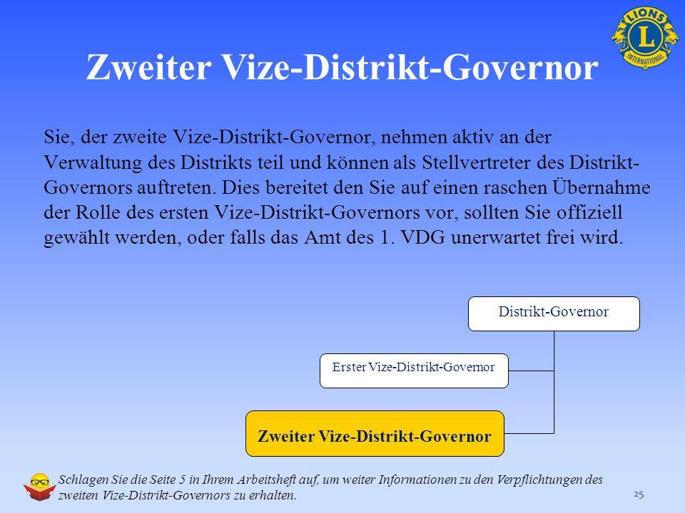 Die aktuellesten Informationen zur Rolle und den Verpflichtung des ersten Vize-Distrikt-Governors finden sie auf den folgenden Seiten der LCI-Webseite