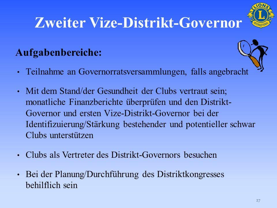 Zweiter Vize-Distrikt-Governor Aufgabenbereiche: Die Ziele dieser Vereinigung fördern Die Wahrnehmung von Verwaltungsaufgaben, wie vom Distrikt-Govern