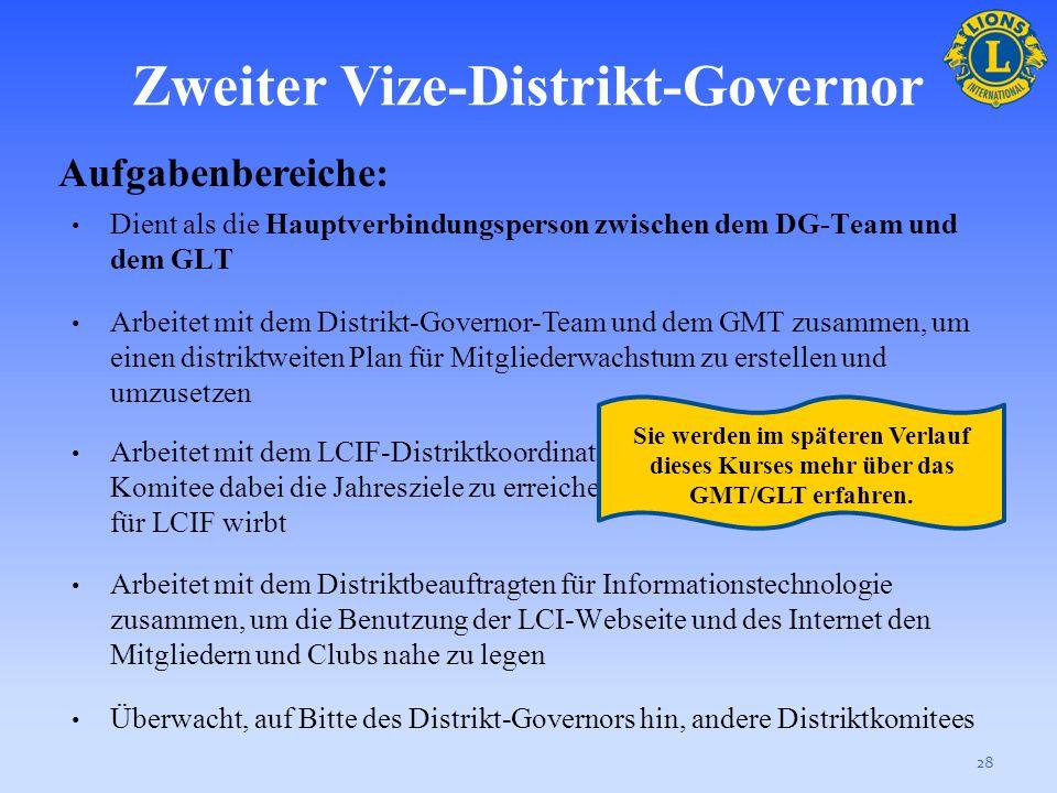 Zweiter Vize-Distrikt-Governor 27 Aufgabenbereiche: Teilnahme an Governorratsversammlungen, falls angebracht Mit dem Stand/der Gesundheit der Clubs ve