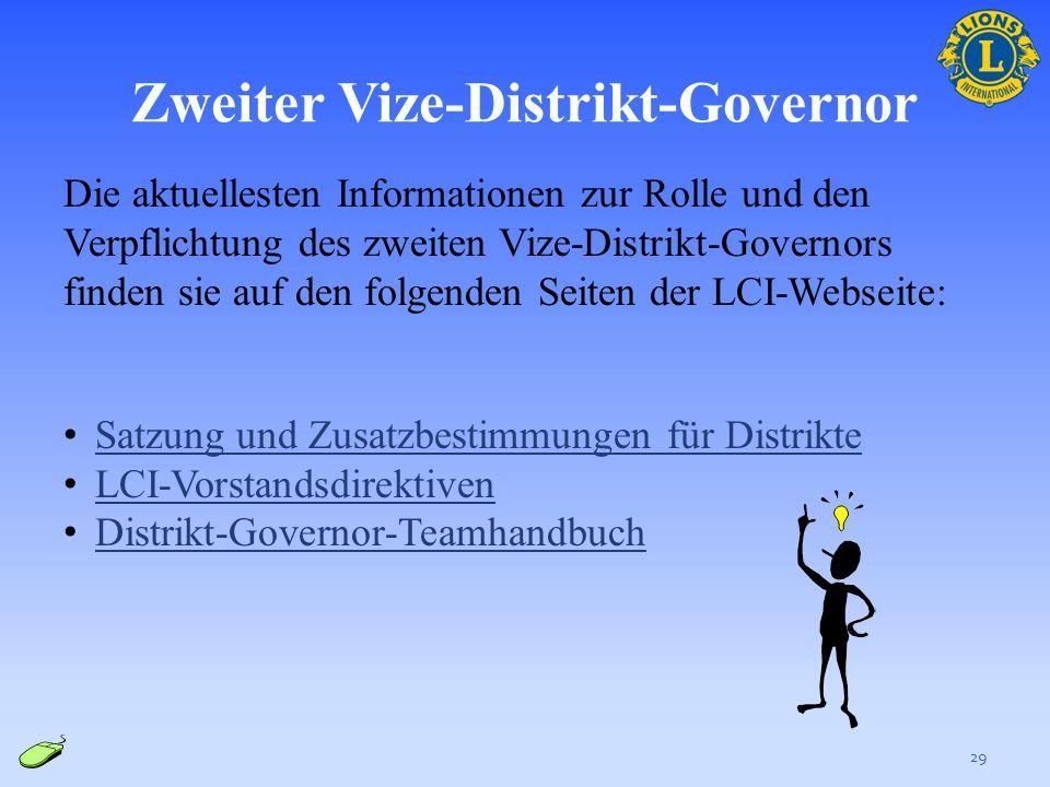 Zweiter Vize-Distrikt-Governor 28 Aufgabenbereiche: Dient als die Hauptverbindungsperson zwischen dem DG-Team und dem GLT Arbeitet mit dem Distrikt-Go