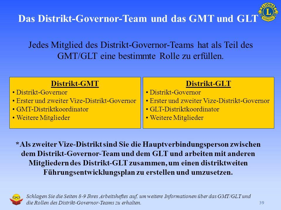 Das Distrikt-Governor-Team und das GMT und GLT 38 Das Distrikt-Governor-Team bildet den Mittelpunkt der teamorientierten Struktur des GMT und GLT auf