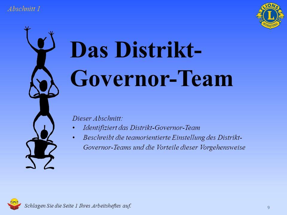 Das Distrikt- Governor-Team 9 Abschnitt 1 Schlagen Sie die Seite 1 Ihres Arbeitsheftes auf.