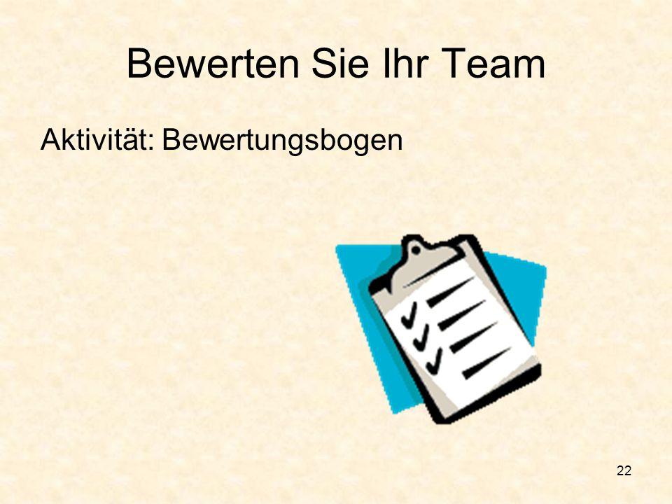 21 Wie sieht es mit Ihrem Team aus? Übernehmen die Teammitglieder konstruktive Rollen? Übernehmen die Teammitglieder unterstützende Rollen? Gibt es in