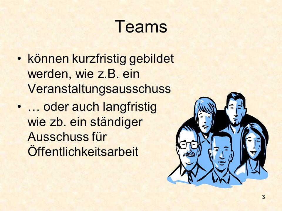 2 Teams Können groß sein (30) wie z.B. das Distriktführungsteam Können klein sein (3) wie z.B. der Clubausschuss für Mitgliedschaft