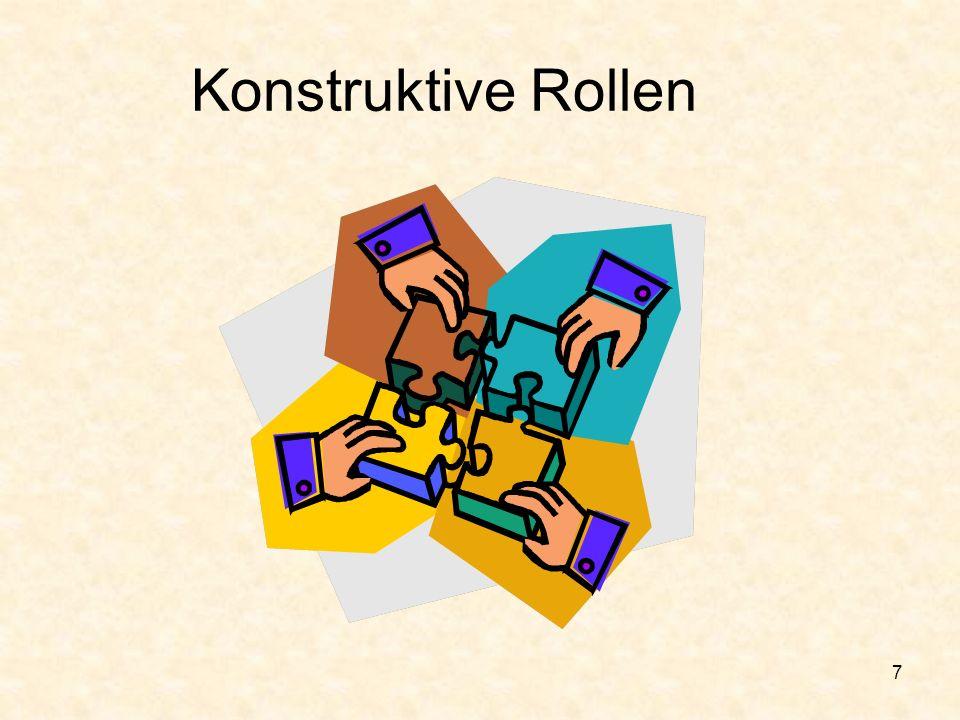 6 Gruppendynamik: verschiedene Rollen innerhalb von Gruppen Konstruktive Rollen Unterstützende Rollen Unproduktive Rollen