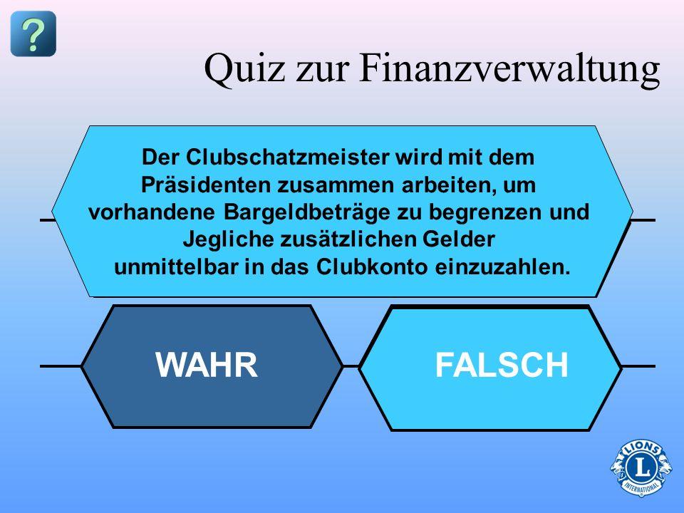 Quiz zur Finanzverwaltung Spendensammelaktionen des Clubs Gebühren Strafgebühren Kommunale Aktivitäten Spenden Geben Sie an, ob die folgenden Finanzen