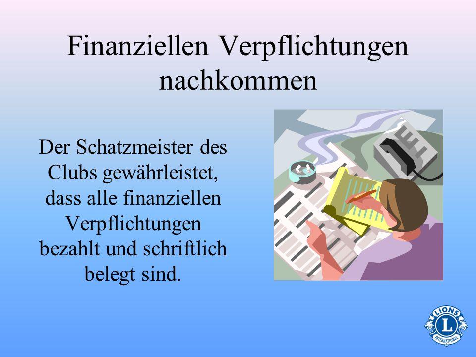 Quiz zur Finanzverwaltung Der Clubschatzmeister kann zu jederzeit soviel Bargeld wie notwendig bei sich tragen. WAHR FALSCH Der Clubschatzmeister wird