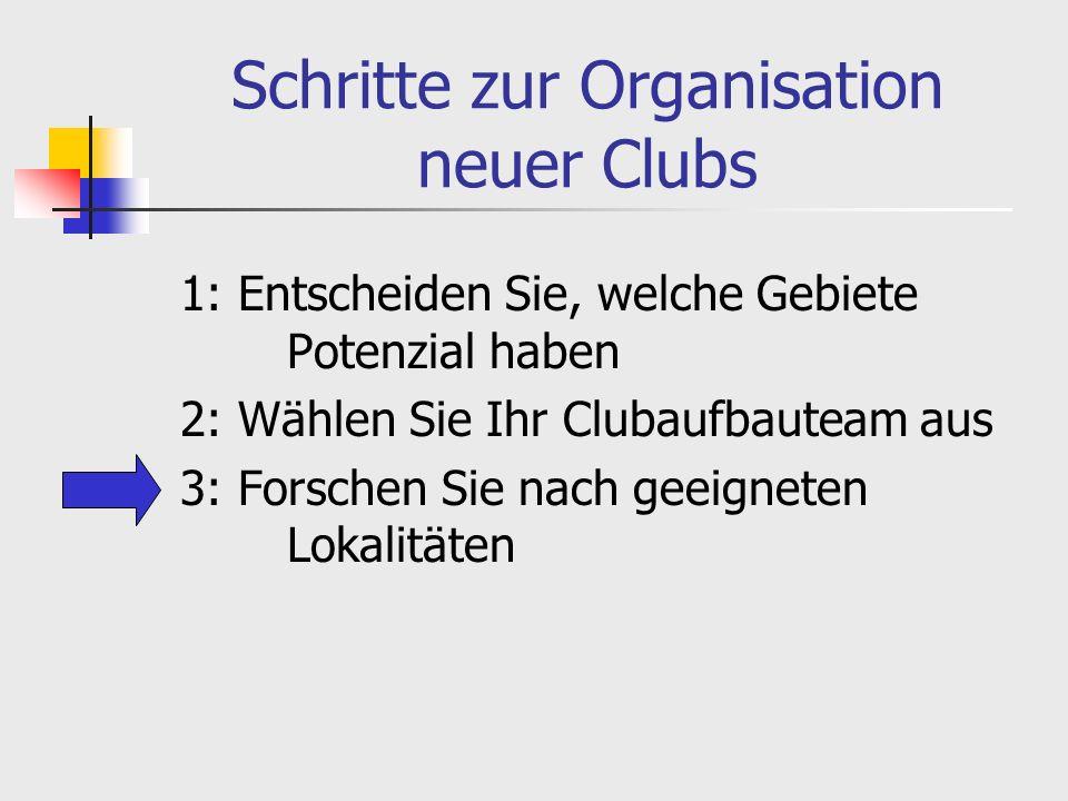 Schritte zur Organisation neuer Clubs 1: Entscheiden Sie, welche Gebiete Potenzial haben 2: Wählen Sie Ihr Clubaufbauteam aus 3: Forschen Sie nach geeigneten Lokalitäten