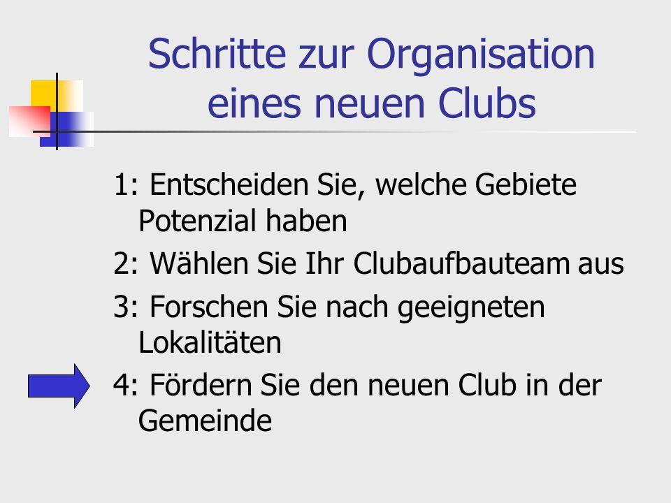 Schritte zur Organisation eines neuen Clubs 1: Entscheiden Sie, welche Gebiete Potenzial haben 2: Wählen Sie Ihr Clubaufbauteam aus 3: Forschen Sie nach geeigneten Lokalitäten 4: Fördern Sie den neuen Club in der Gemeinde