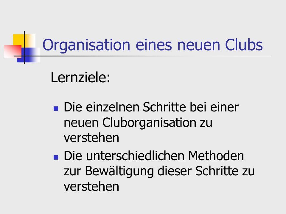 Organisation eines neuen Clubs Die einzelnen Schritte bei einer neuen Cluborganisation zu verstehen Die unterschiedlichen Methoden zur Bewältigung dieser Schritte zu verstehen Lernziele: