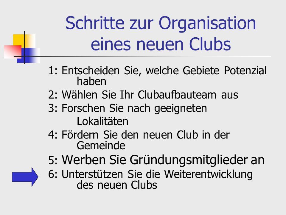 Schritte zur Organisation eines neuen Clubs 1: Entscheiden Sie, welche Gebiete Potenzial haben 2: Wählen Sie Ihr Clubaufbauteam aus 3: Forschen Sie nach geeigneten Lokalitäten 4: Fördern Sie den neuen Club in der Gemeinde 5: Werben Sie Gründungsmitglieder an 6: Unterstützen Sie die Weiterentwicklung des neuen Clubs