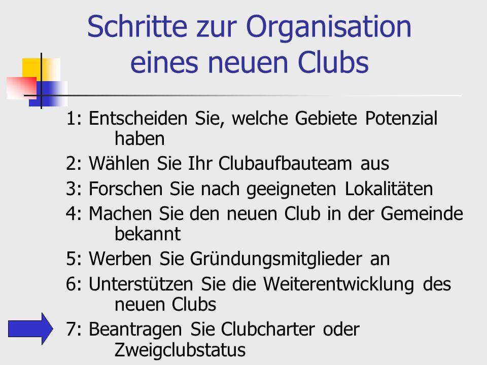 Schritte zur Organisation eines neuen Clubs 1: Entscheiden Sie, welche Gebiete Potenzial haben 2: Wählen Sie Ihr Clubaufbauteam aus 3: Forschen Sie nach geeigneten Lokalitäten 4: Machen Sie den neuen Club in der Gemeinde bekannt 5: Werben Sie Gründungsmitglieder an 6: Unterstützen Sie die Weiterentwicklung des neuen Clubs 7: Beantragen Sie Clubcharter oder Zweigclubstatus