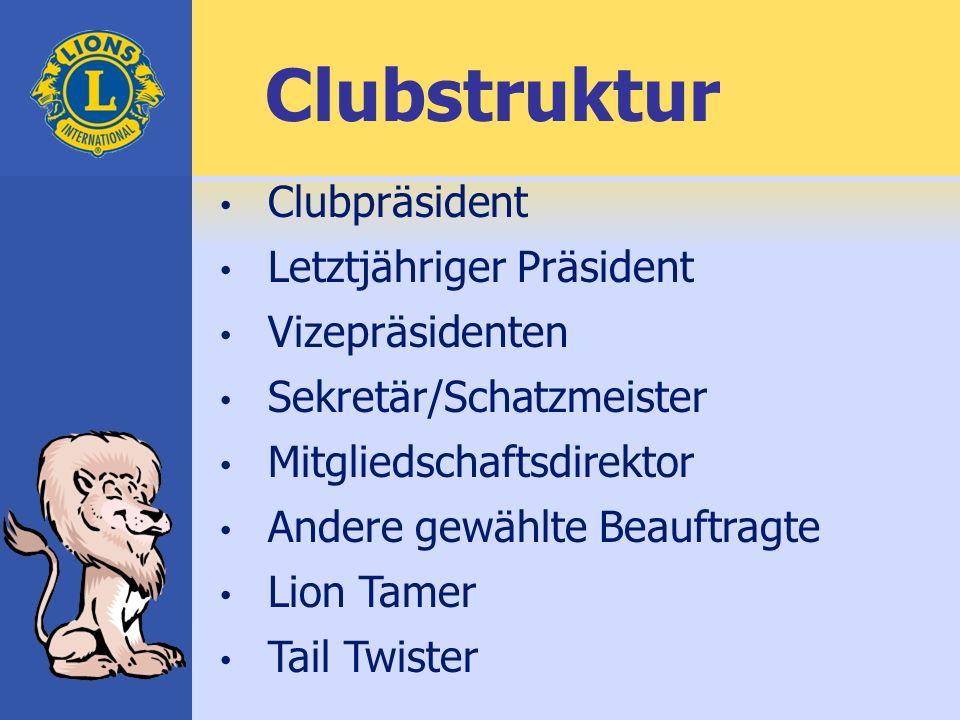 Clubpräsident Letztjähriger Präsident Vizepräsidenten Sekretär/Schatzmeister Mitgliedschaftsdirektor Andere gewählte Beauftragte Lion Tamer Tail Twister Clubstruktur
