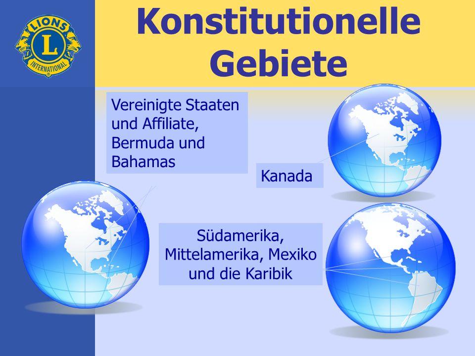 Konstitutionelle Gebiete Südamerika, Mittelamerika, Mexiko und die Karibik Vereinigte Staaten und Affiliate, Bermuda und Bahamas Kanada