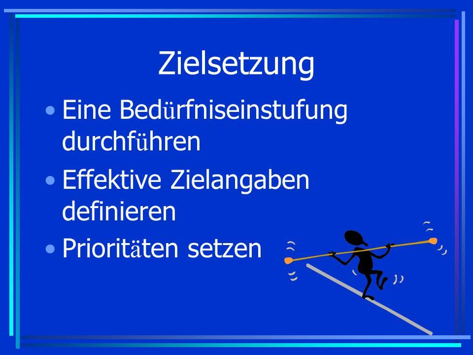 Zielsetzung Eine Bed ü rfniseinstufung durchf ü hren Effektive Zielangaben definieren Priorit ä ten setzen