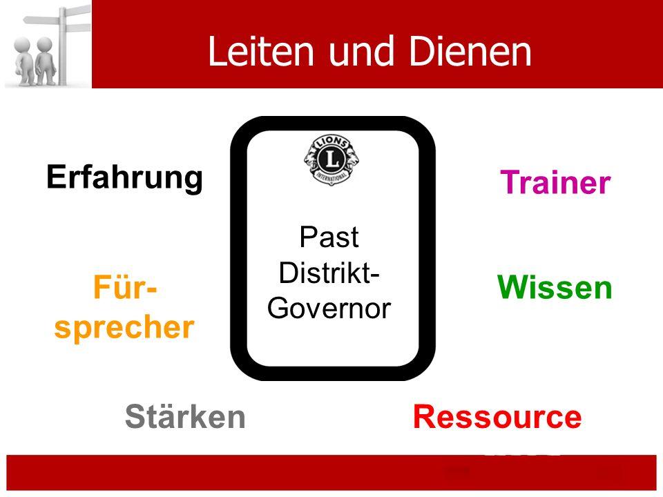 Leiten und Dienen Erfahrung Stärken Wissen Ressource Für- sprecher Trainer Past Distrikt- Governor