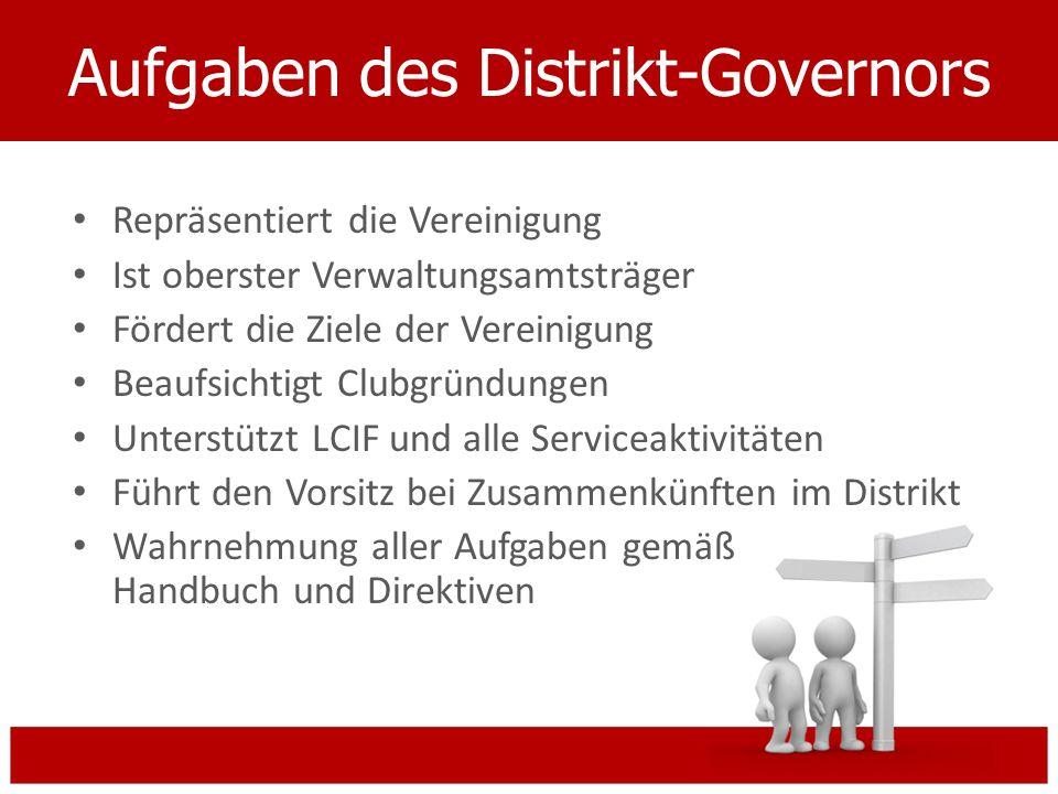 Aufgaben des Distrikt-Governors Repräsentiert die Vereinigung Ist oberster Verwaltungsamtsträger Fördert die Ziele der Vereinigung Beaufsichtigt Clubg