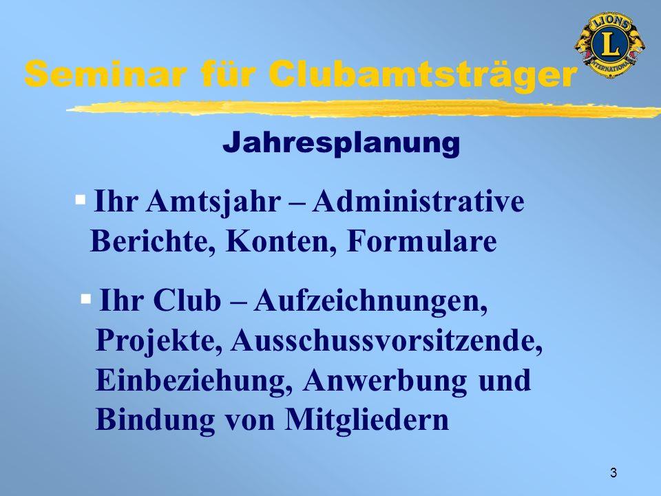 4 Seminar für Clubamtsträger Beispiel: Terminkalender eines Amtsträgers