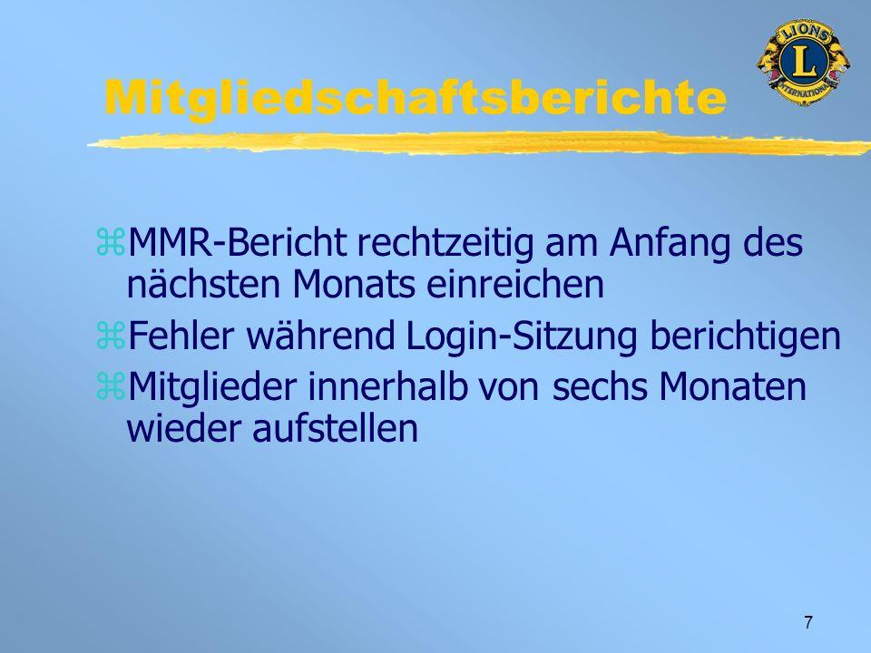 7 Mitgliedschaftsberichte zMMR-Bericht rechtzeitig am Anfang des nächsten Monats einreichen zFehler während Login-Sitzung berichtigen zMitglieder innerhalb von sechs Monaten wieder aufstellen