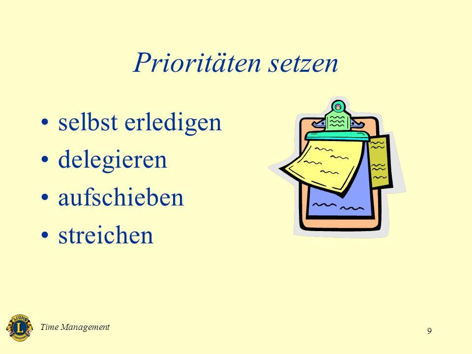 Time Management 10 Prioritäten setzen 1.Dringendes sofort erledigen 2.Aufgaben so früh wie möglich erledigen 3.Aufgaben, die warten können, befristet verschieben