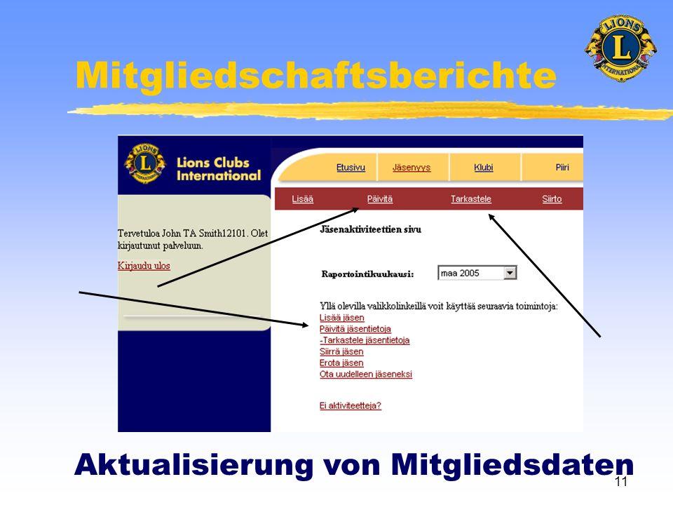 11 Mitgliedschaftsberichte Aktualisierung von Mitgliedsdaten